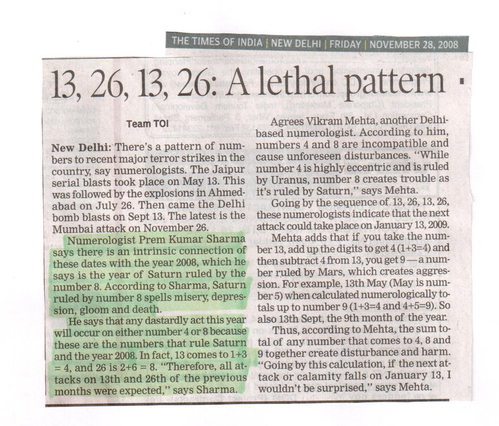 13, 26, 13, 26 : A Lethal Pattern